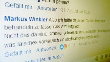 Einer von hunderten Kommentaren bei Facebook. Rechte Hetze gegen Gewerkschafterin