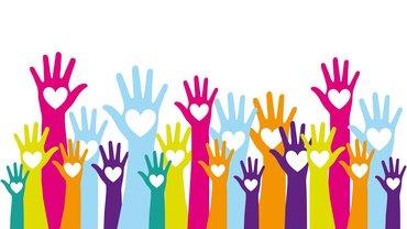 Hände Menschen gemeinsam Herz statt Hetze Illustration