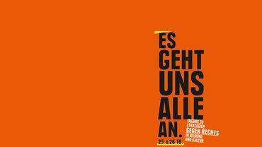 """Logo der Tagung """"Strategien gegen rechts"""" auf Kampnagel."""