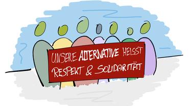 """Figuren mit Transparent """"Unsere Alternative heißt Respekt und Solidarität"""""""